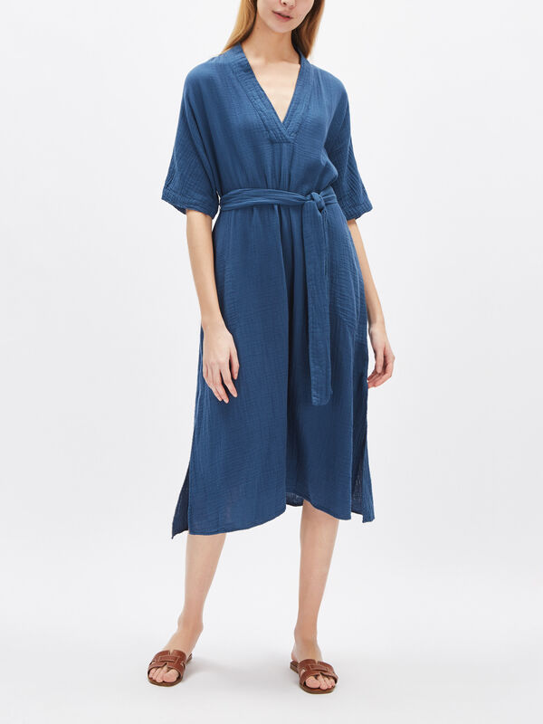 Kerry Cotton Gauze Short Sleeve Midi Dress