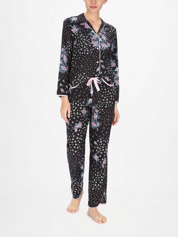Hannah Black Ditsy Floral Print Pyjama Pants