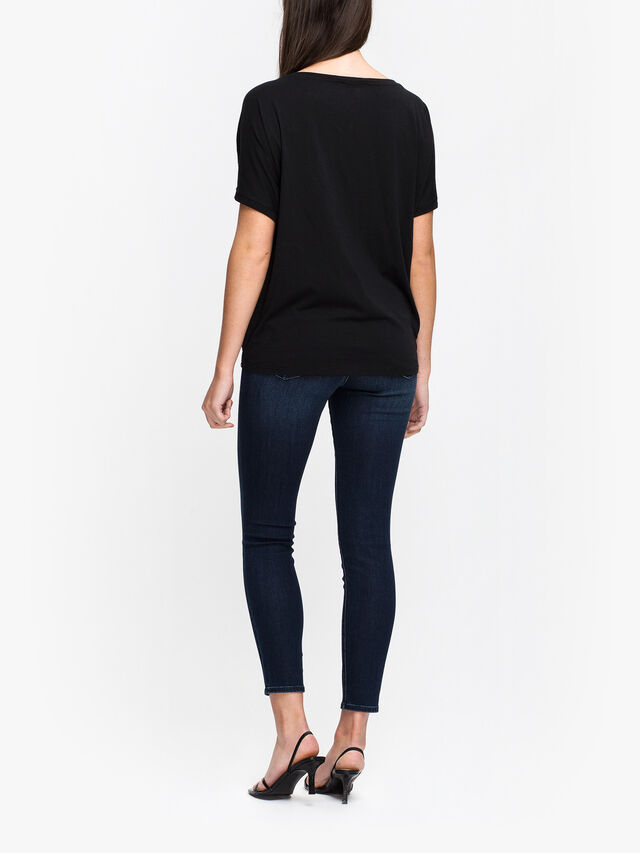 Sequin T Shirt with Jersey Back