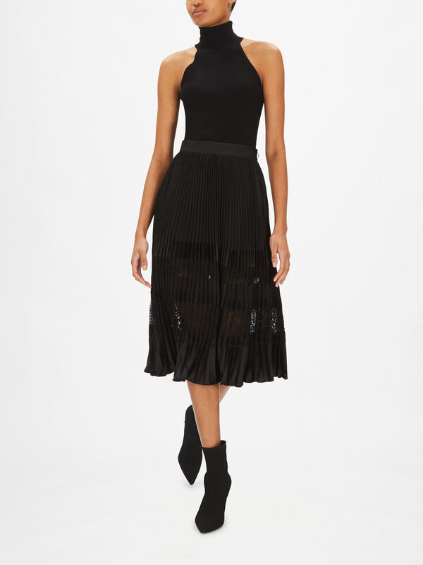 Satin Lace Panel Pleated Skirt