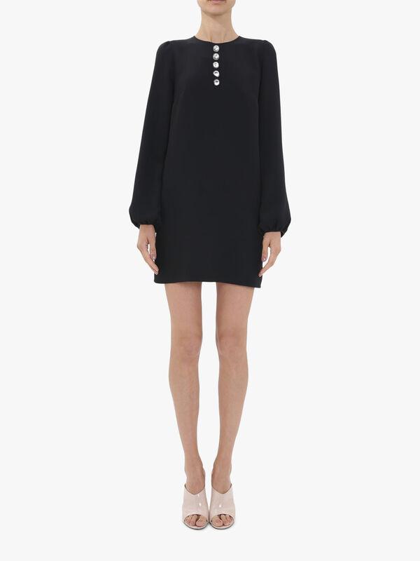 Button Detail Long Sleeve Dress