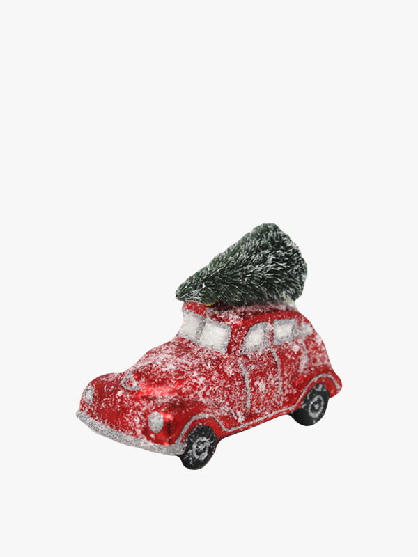 Snow Dusted Car with Tree Bauble