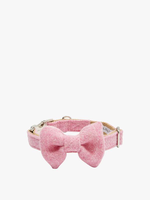 Pink Harris Tweed Dog Collar Large