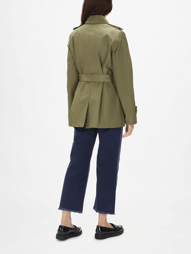 Cotton Blend Short Cotton Trench Coat