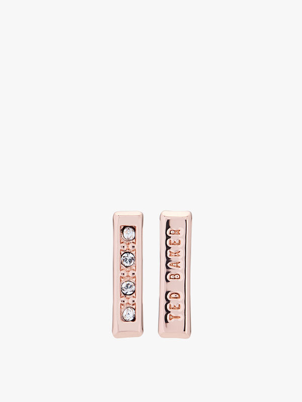 Banzi Pave Logo Bar Stud Earrings