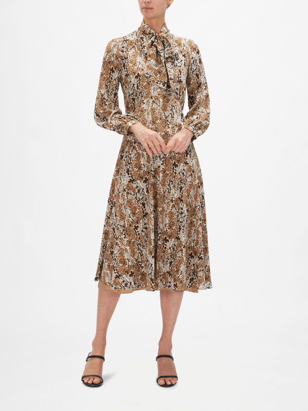 Figlio Silk Printed Dress with Neck Tie