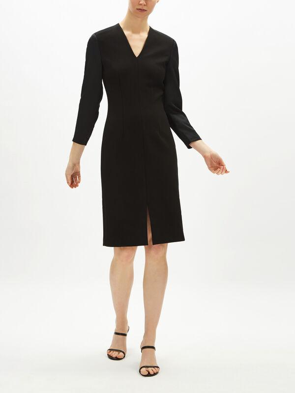 Satin Sleeve Ponte Pencil Dress