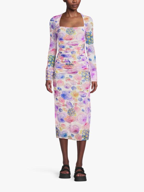 Printed Mesh Square Neck Dress