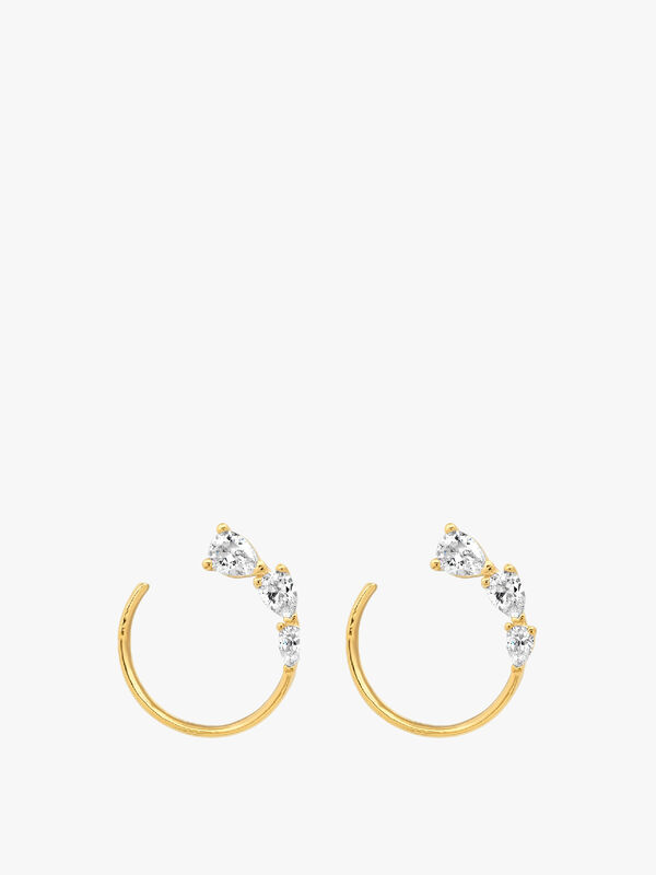 Triple Pear Shaped CZ Front Facing Hoop