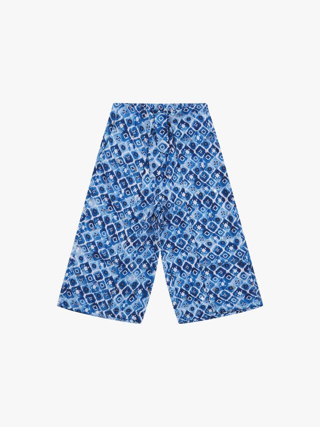 Batik Print Wide Crop Trousers