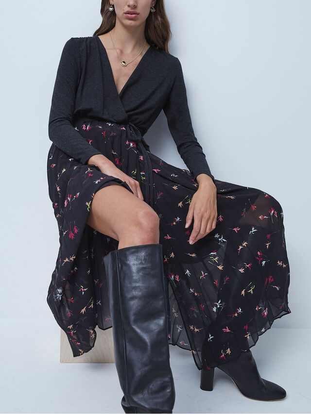 Marmo Jersey Mix V-Neck Midi Dress