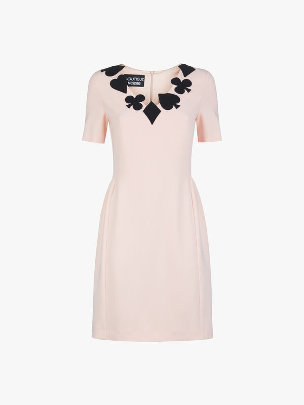 Neck Applique Detail Cap Sleeve Dress
