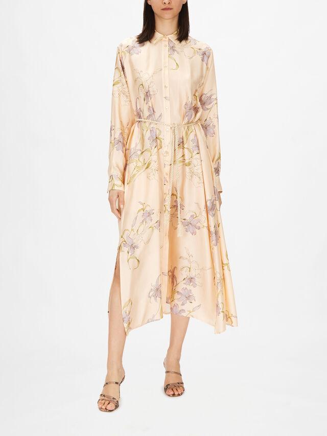 Silk Twill Kaftan Dress