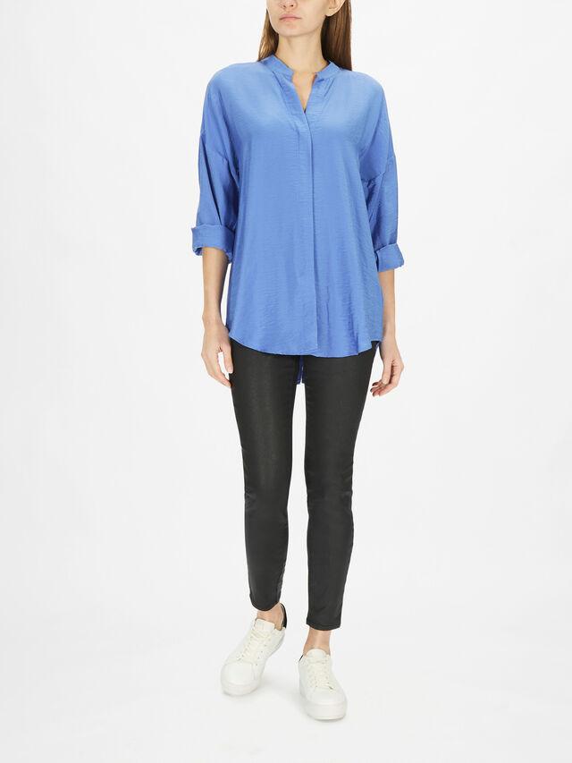 Blue Oversized Longline Shirt