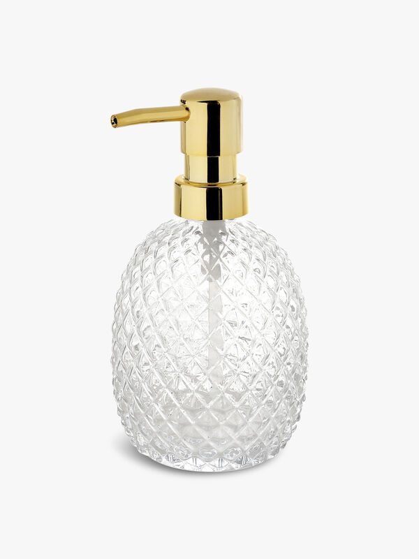 Diamond Glass Gold Soap Dispenser