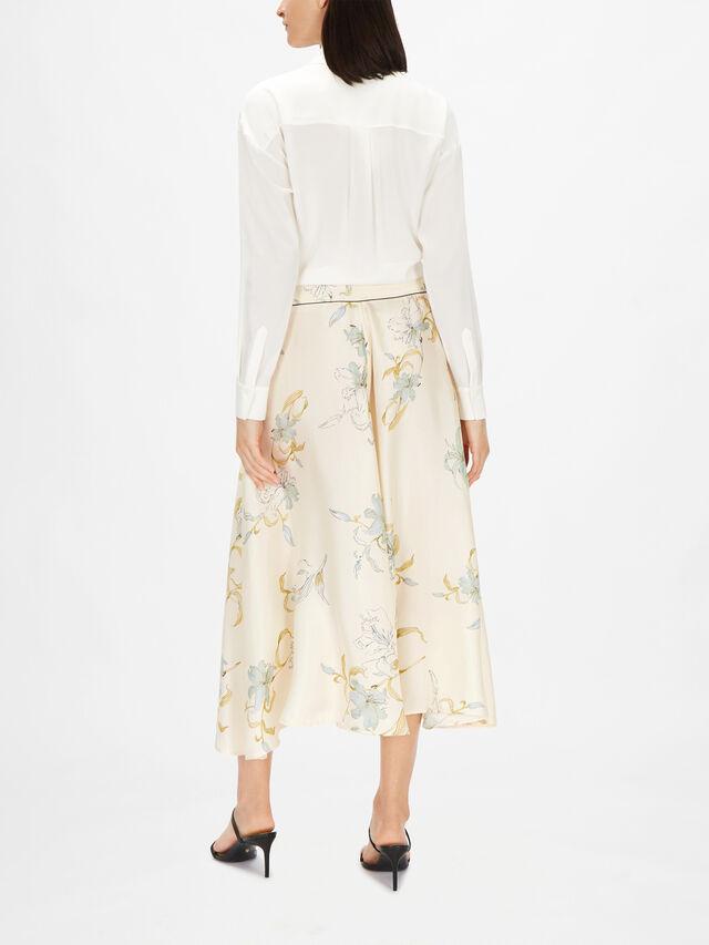 Gelsomina Print Silk Twill Skirt
