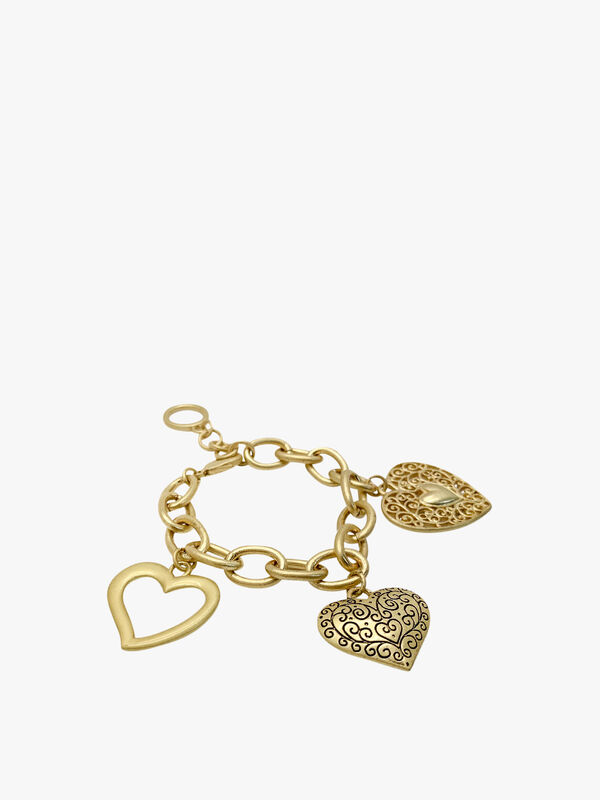 Vintage Chunky Link Heart Charm Bracelet