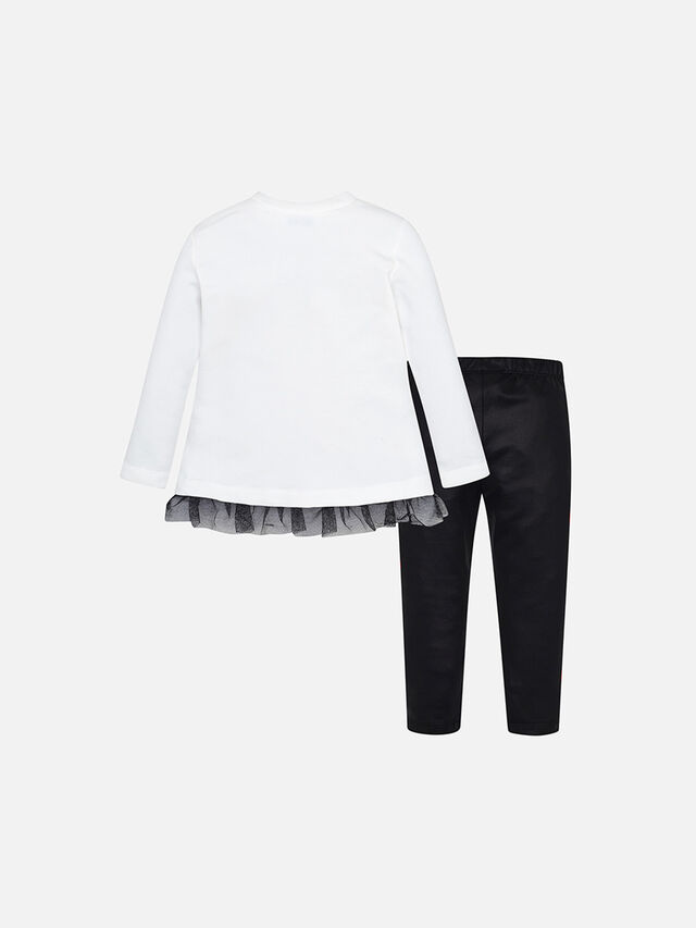 T-Shirt And Suede Leggings Set