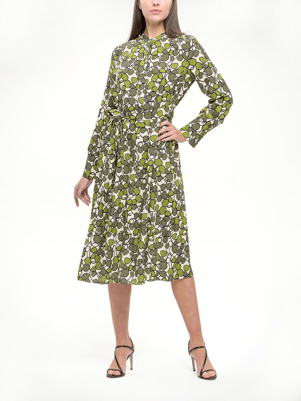Bold Print Midi Shirt Dress