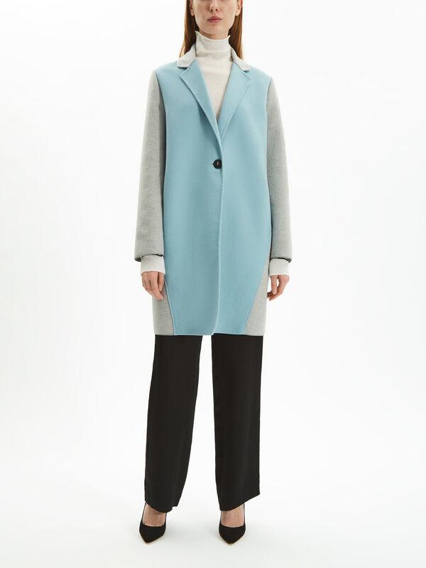 Colour Block Wool Crombie Coat