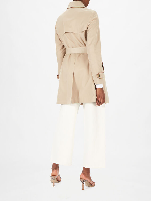 Cotton Blend Mid Length Trench Coat