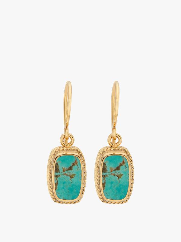 Turquoise Cushion Drop Earrings