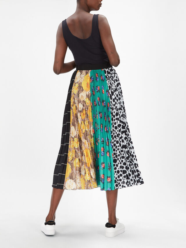 Patchwork Print Pleated Maxi Skirt