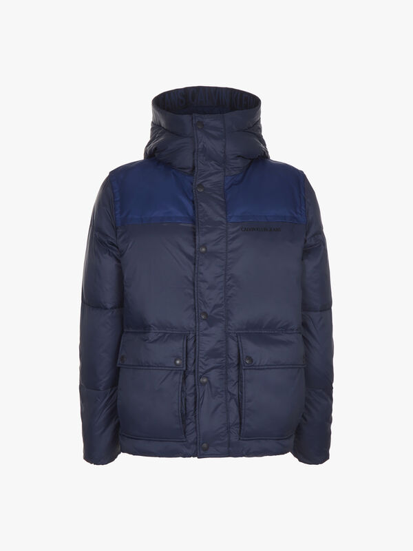 Mix Media Hooded Puffer Jacket
