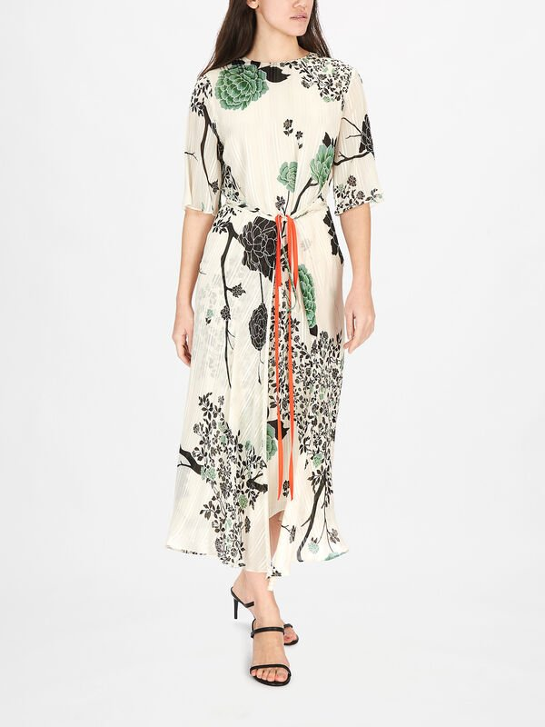 Printed Crepon Tie Front Dress