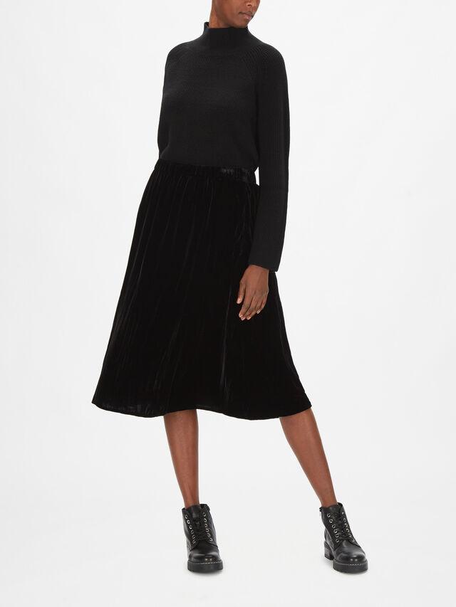 Crushed Velvet A-Line Skirt