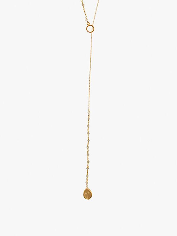 Multi Moonstone Long Pendant Necklace