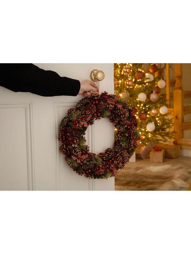 Tartan Ribbon and Berries Wreath 45cm