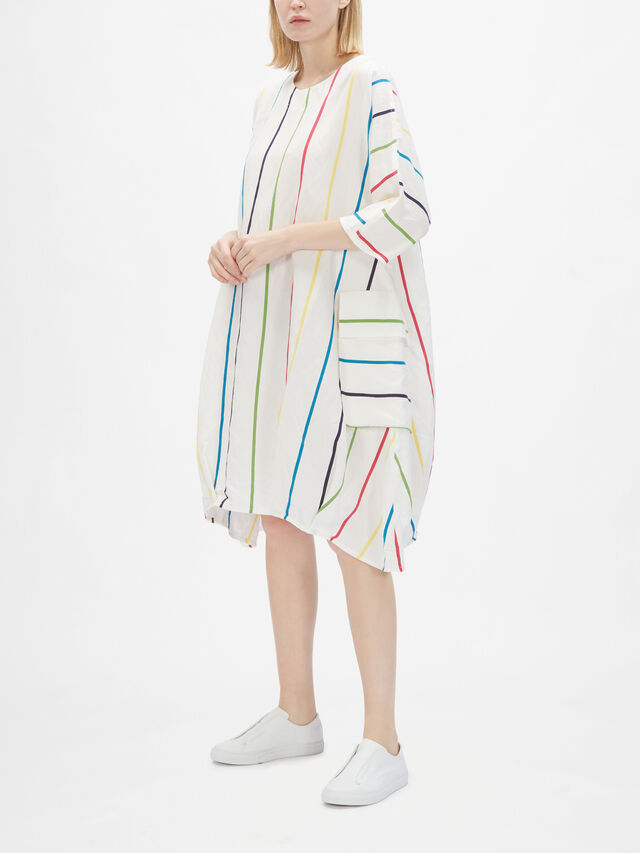 Stripe Pocket Tunic Half Sleeve