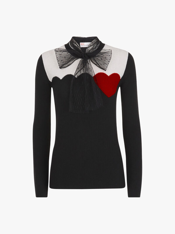 Heart Contrast Knit