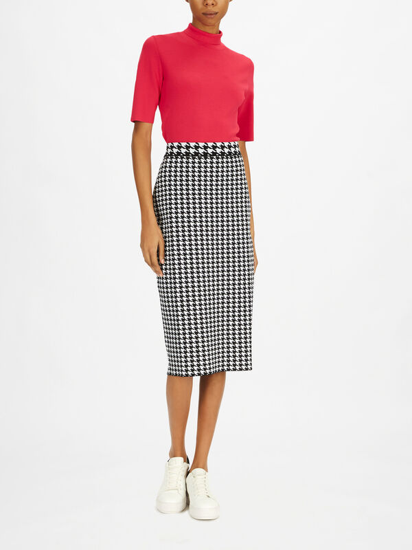 Ralit Houndstooth Knitted Skirt