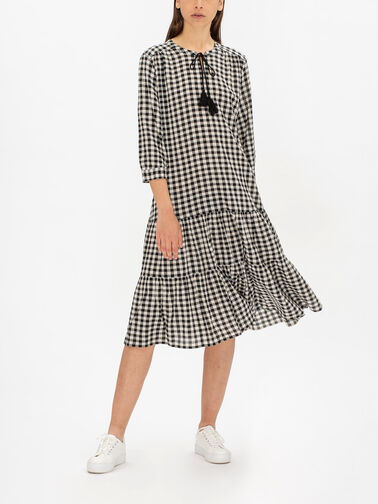 Nari-Gingham-3-1-4-Slv-Peasant-Dress-w-Tassel-Tie-Neck-Faste-1003199