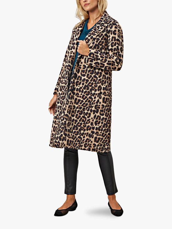 Leopard Print 3 Button Coat
