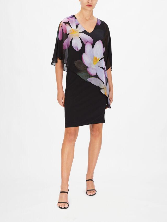 V Neck Flower Printed Chiffon Double Layer Dress