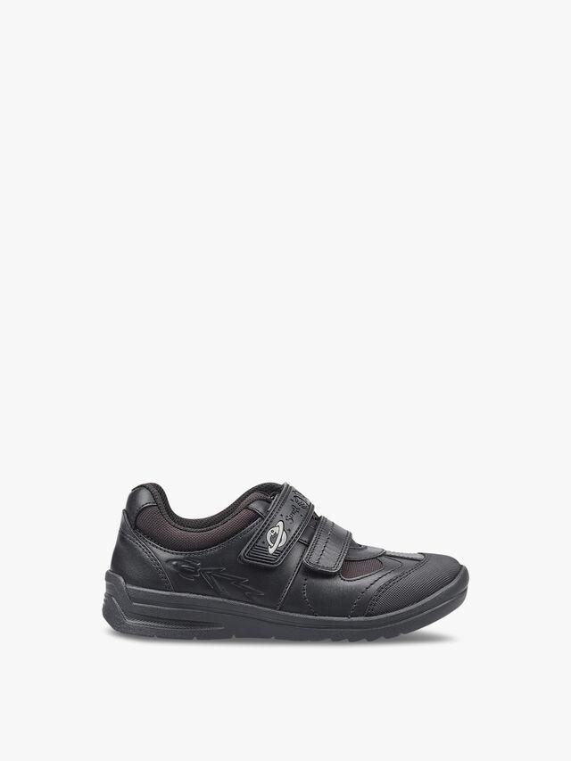 Rocket Black Leather School Shoes
