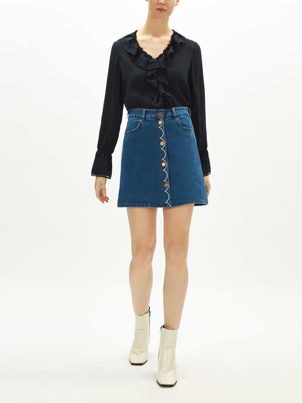 Denim Scalloped Skirt
