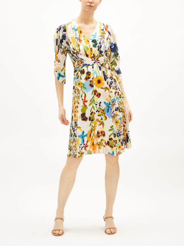 Kailyn Floral Print Long Sleeve Silk Blend Dress