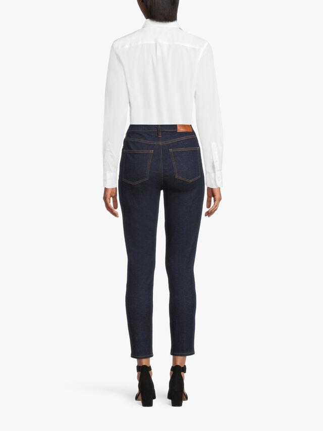 High Rise 5 Pocket Denim Ankle Grazer Jeans