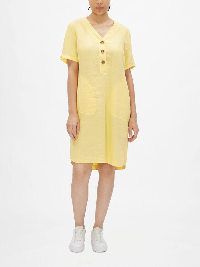 Linen Button Detail Pocket Dress