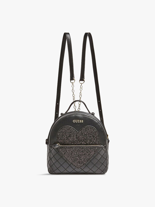 Quilted Glitter-Look Heart Backpack