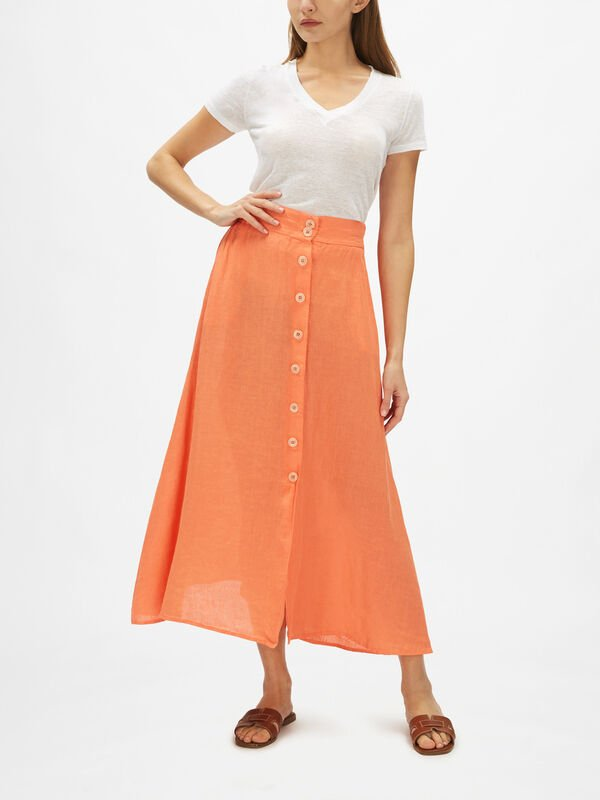 A Line Button Down Linen Skirt