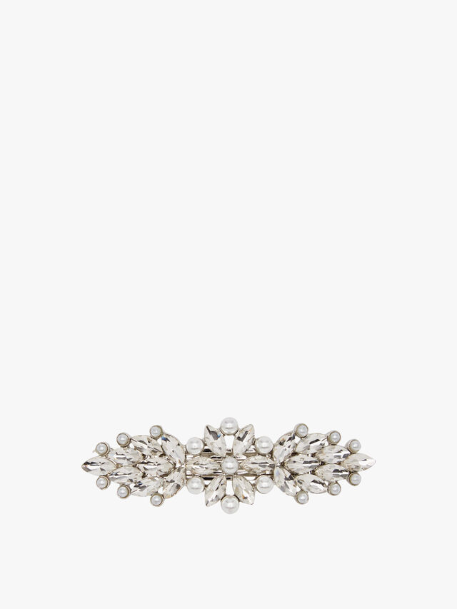 Crystal Pearl Feathered French Barrette (Gold)