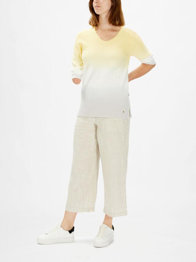 Ombre Vee Neck Split Side Knit Cotton