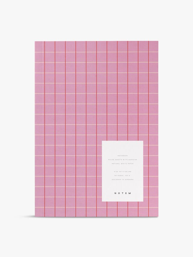 Vita Pink Grid Medium Notebook Ruled Pages