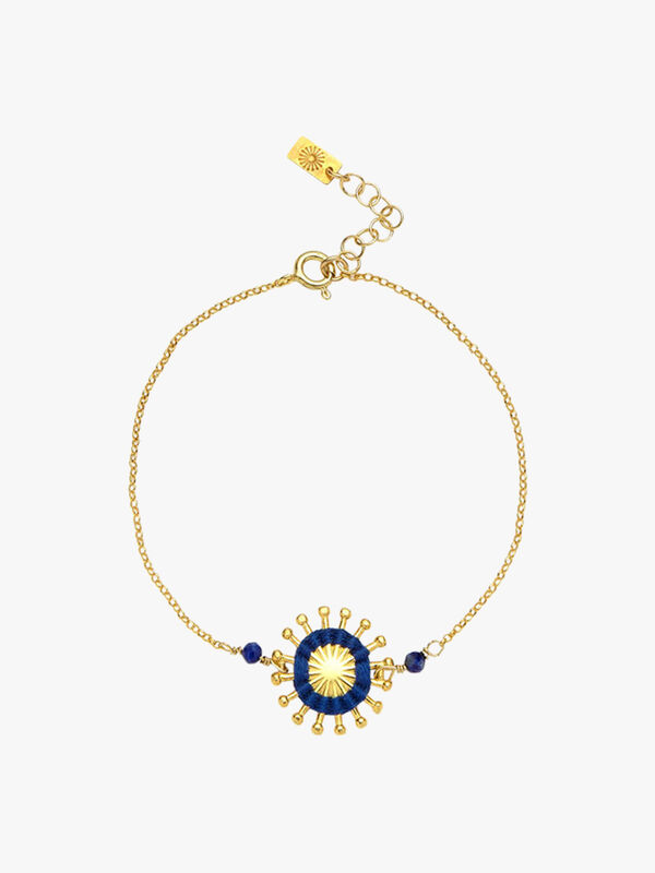 Lapis Blu Sunburst Charm Chain Bracelet