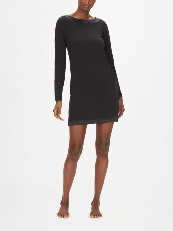 Modal with Satin Long Sleeve Modal Nightshirt